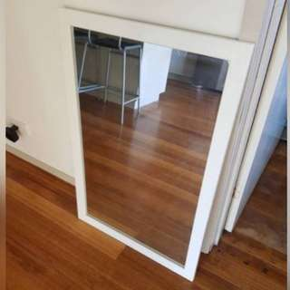 White framed mirror