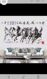 ✔Instock 2 in 1 Large Size Eight Horse wall sticker Living Room TV Sofa Background Wall Stickers Classical Calligraphy Office Layout Stickers/Home Decor