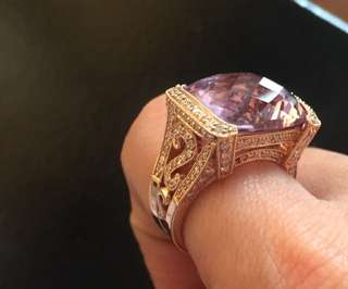 Rosegold ring with amethyst and diamond