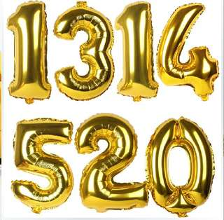Foil Balloons 16 inch Numbers in Gold (Brand New and Sealed Opening )