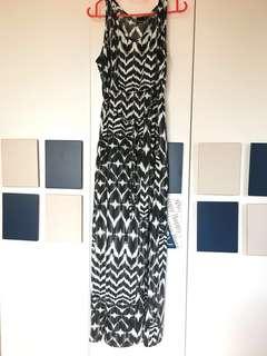 Printed Black & White Long Dress