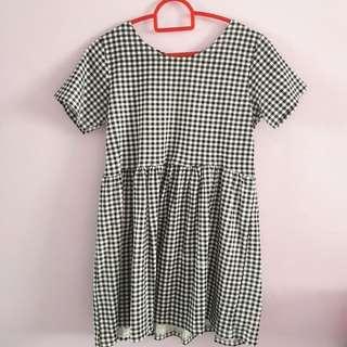 •INSTOCK• Black checkered BABYDOLL dress
