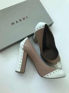 Repriced Marni Nude Leather Platform Pump 37.5 7.5