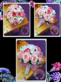 Hand Bouquet fake flower (pink)