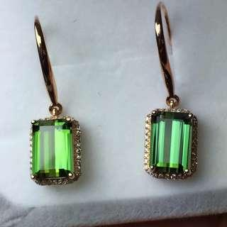 18k gold diamonds tourmaline earring