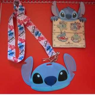HK Disney STITCH 史廸仔證件套+襟章4個 (2010年)