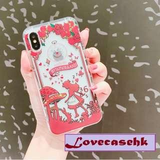 手機殼IPhone6/7/8/plus/X : 紅底愛麗絲公主全包邊透明軟殼