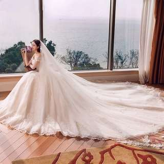 3 Metres Bridal Wedding Double Layer White Lace Trimming Veil (Brand New)