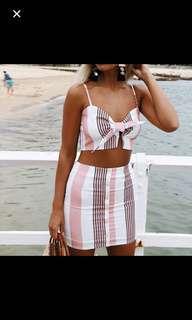 Stripes Ribbon Crop Top + Skirt Set