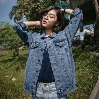 Jaket jeans oversize acid