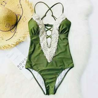 Yellow Green Mid Lace Onepiece