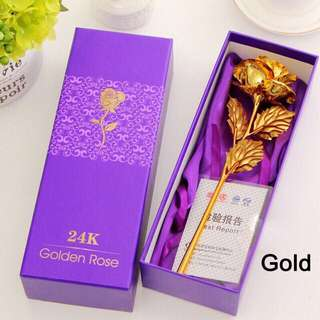 Free shipping ready stock 24k gold foil flower rose valentines birthday present gift