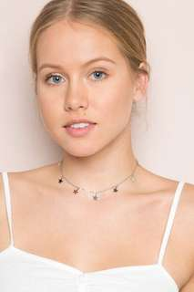 Silver stars charm necklace