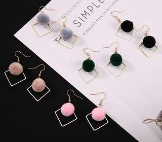 Korean Pompom Earrings
