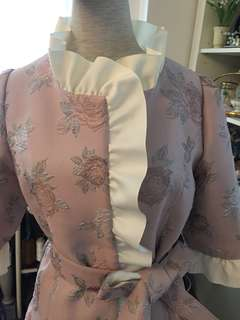 French rose fabric coat in lavender color by Emily Cheong