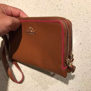 Coach Large Tan Wristlet