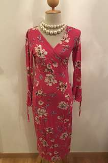 Cotton On stretchable long pink floral dress (Size S - Suitable for UK 8-12)
