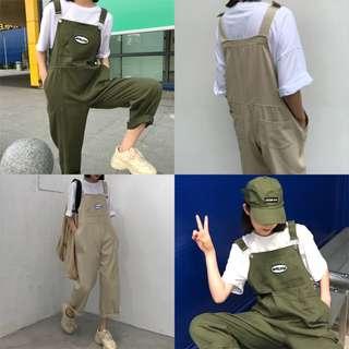 韓版減齡工裝背帶褲寬鬆顯瘦直筒九分連體褲女學生高腰休閒褲(2色)