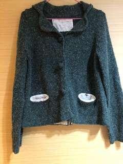 🚚 A la sha 綠針織毛毛外套