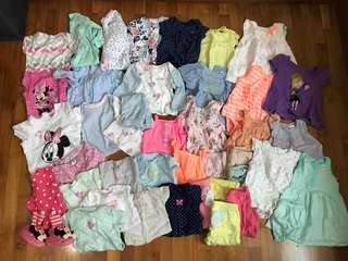 42 pieces  - Baby girl clothes. Up to 1 year old. Carter's, baby GAP, children's place, obaidi, H&M, Mothercare