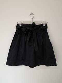 Black Satin Miniskirt
