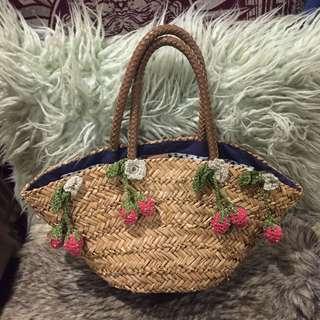 Beach Summer Woven Bag Basket Cherry