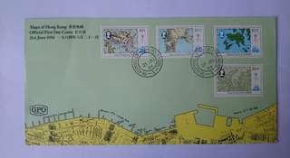 香港地圖郵票首日封
