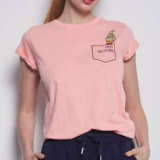 New 🍦 Mini Logo Rolled Up Sleeves Tee in Pink