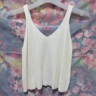 BM Inspired Loose Knit Short Top in Off White