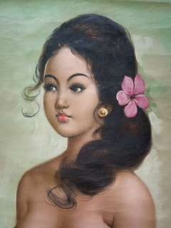 Old Bali Lady Oil On Canvas Painting Size 59x44cm perfect condition