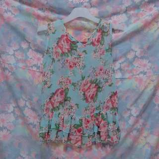 Ruffles Floral Sleeveless Top in Blue