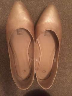 Bronze Pointed Toe Flats Size 7 Good Condition
