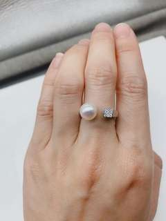Top quality pearl silver ring