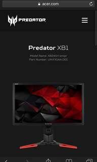 Acer Predator XB241H bmipr 24-inch Full HD 1920x1080 NVIDIA G-Sync Display