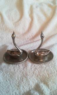 Vintage Silver Plated Decor Swans on Coasters - Set of 2