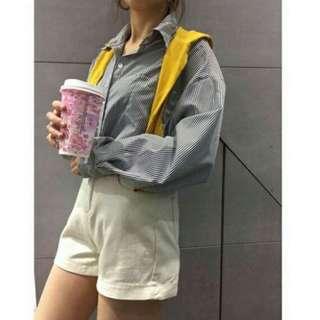 🚚 降🔽披肩條紋襯衫 #全新