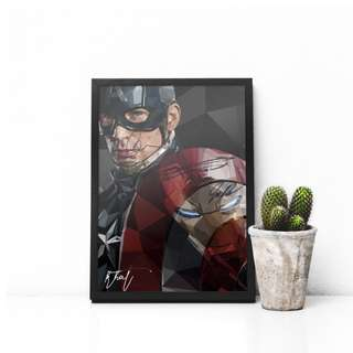 Captain America Civil War Low Poly Vector Art PRINT w/ Frame and signature