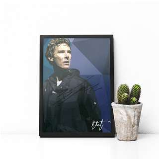 Benedict Cumberbatch Low Poly Artwork Print w/ Signature and Frame