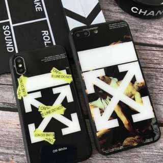 [PO] Off White Tempered Glass IPhone 6/7/8/X Full Cover Case