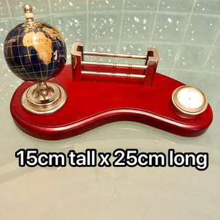 Globe, card holder, clock Desk Top