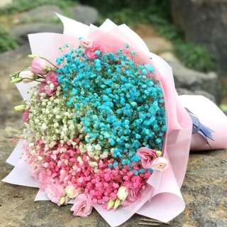 Colorful Baby's Breath Hand Bouquet