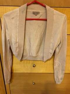 🚚 售:JORYA針織短外罩 有9成以上新 尺寸m號 裸粉色,金額:500元