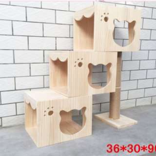 [In Stock] Triple House Solid Wood Staircase Pet house Cat Steps Cat Ramps Cat Climbing Tree