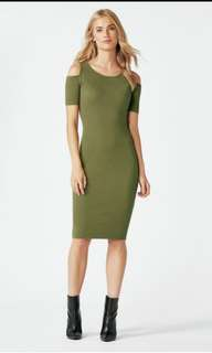 H&M COLD SHOULDER RIBBED BODY CON DRESS