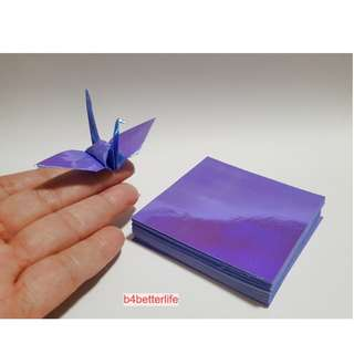 "#CRK-100. Pack of 100 Sheets 3"" x 3"" Dark Blue Color DIY Chiyogami Yuzen Paper Folding Kit for Origami Cranes ""Tsuru"". (AV paper series)."