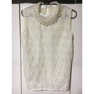 BRAND NEW: White Floral Lace Pearl-Collar Top