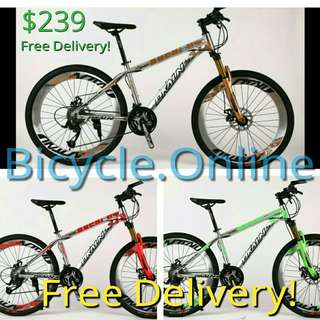 "Dkaln 26"" Aluminium Mountain Bike / MTB ✩ Chromed,  Corrosion resistance! 27Speeds, Disc brakes, Front suspension ✩ Brand new bicycles"