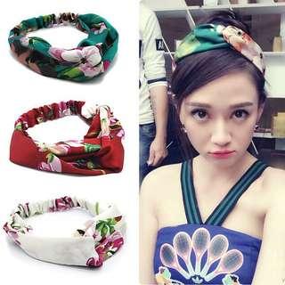 Floral Headband in Emerald Green