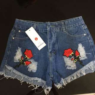 High Waist Shorts With Patch