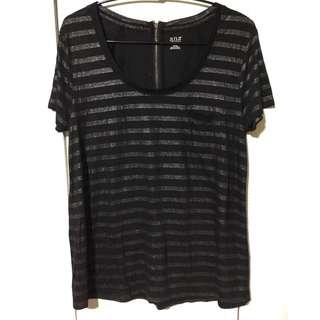 Black Striped Glitter Top